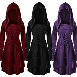 $enCountryForm.capitalKeyWord NZ - Women Costumes Lace Up Hooded Vintage Pullover High Low Bandage Long Dress Cloak Women Party Bodycon Dresses Vestidos Robe