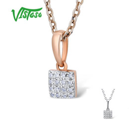 $enCountryForm.capitalKeyWord Australia - Vistoso Gold Pendants For Women Authentic 14k 585 Rose White Gold Sparkling Diamond Simple Square Pendant Wedding Fine Jewelry J190714