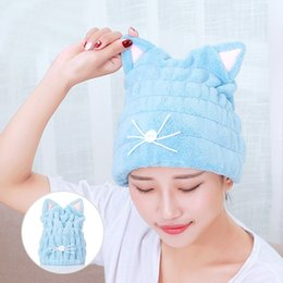 Long Hair Cats Australia - Cute Cat Microfiber Hair-drying Towel Bath Cap Strong Absorbing Drying Long Soft Special Dry Hair Cap Towel With Coral Velvet P2