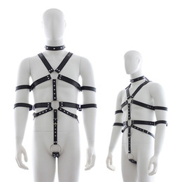 leather bdsm clothes Canada - Chastity Belt Pu Leather Neck Collar Bodysuit Harness Clothing Men Gay Bondage Bdsm Restraint Sexy Lingerie Sex Toys Costume SH190726
