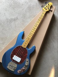 music bass guitar Canada - Top Quality Metal Blue Music Man Ernie Ball Sting Ray 4 Strings Bass Guitar 9V Battery Active Pickup Electric Guitar
