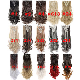 Опт Высокое качество 24inch Волнистые 18 Зажимы для укладки волос в натуральные синтетические Наращивание волос шиньон наращивание волос для женщин