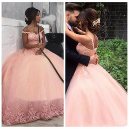 Plus size red Puffy dress online shopping - 2019 New Arrival Blush Pink Prom Dresses Off Shoulder Lace Appliques Backless Puffy Plus Size Pageant Party Dress Formal Evening Gowns