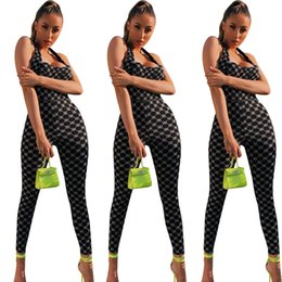 Jumpsuits Tights Australia - Y8080 European and American women's fashion explosions nightclubs best selling hanging neck tight-fitting print sexy women's jumpsuit