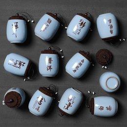 Tea Box Storage Australia - High Quality Mini Bottle With Cover Ceramic Tea Box Sealed Storage Jars Mini Tea Pot Kitchen Storage Bottles Salt Sugar Boxes