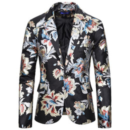 Wholesale new blazers for men for sale - Group buy Tuxedos Men Blazer designs Flower Hot stamping Suit Wedding Suits for Men Dress Costume One Button New