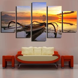 $enCountryForm.capitalKeyWord Australia - Wall Painting On Canvas Home Decoration 5 Panel Sunset Boat Seascape Modern Posters Artwork Pictures HD Printed Frame Living Room