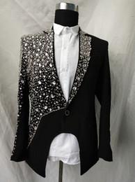 $enCountryForm.capitalKeyWord Australia - luxury customs making rhinestone beading sewing black beading magician stage jacket club show red carpet tuxedo jacket