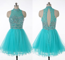 $enCountryForm.capitalKeyWord Australia - Glittering Beads Crystal Short Prom Dresses Cheap 2019 High Collar Piping Tulle A-line Homecoming Dress Graduation Party Evening Gowns