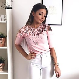 Wholesale Gold Hands Fashion Women Vintage Print Blouses Sexy O neck Lace Shirt Summer Slim Casual Mid Sleeve Lace Shirt Tops Blouse