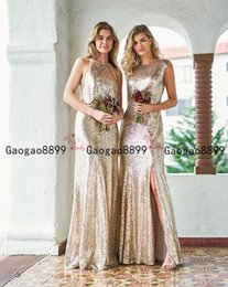 Spring Side online shopping - 2020 modest Champagne gold shinny sequined mermaid Bridesmaid Dresses Simple boho custom made side split long Maid Of Honor Dress