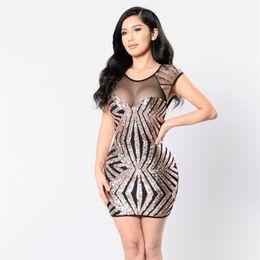3080fae57bba Black Sequin Dress Women elegant Sexy Mesh Patchwork Club Dress 2019 Slim  Fit Backless Bodycon party night Mini Vintage vestidos