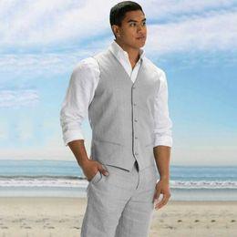 Ivory Linen Suit Australia - Plus Size Grey Linen Vest Pants Men Suits for Wedding Suits Man Blazer Bridegroom Blazer Groom Tuxedo Costume Homme 2Piece Terno Masculino