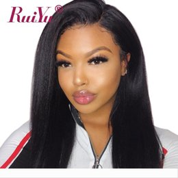 kinky straight yaki wigs NZ - Kinky Straight Lace Front Human Hair Wigs Natural Hairline Coarse Yaki Remy Lace Frontal Wig With Baby Hair Peruvian Lace Wig Ruiyu