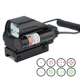 tactical rail laser Australia - Magnification 1X Tactical 4 Reticles Dual-shot Red Green Dot Sight With Red Laser and 20mm Picatinny Rail Mount.