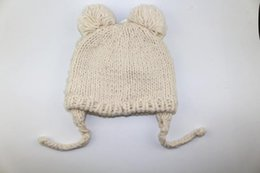 hand knitted hats for girls UK - 2020 autumn winter hand made knitted hat for baby hand knitting cap crochet knit hat for baby chidrens' boy girl knitting hat