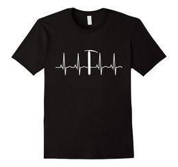 Mountains T Shirt NZ - Mountaineering T-Shirt Heartbeat Ice Axe Mountain Climbinger Tee 100% Cotton T Shirts Brand Clothing Tops Tees Plus Size