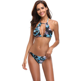 bikini string piece NZ - Women Sexy Two Piece Swimsuit High Neck String Bikini Floral Print Bathing Suit Cut Out Bikini Top Bottom Halter Backless Swimwear Beachwear