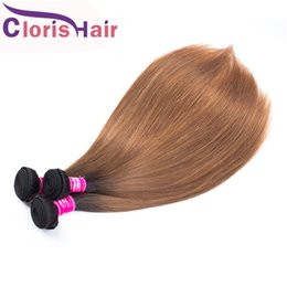 two toned brown hair weave 2020 - Two Tone 1B 30 Silky Straight Human Hair 3 Bundles Raw Virgin Indian Blonde Ombre Weave Full End Auburn Brown Colored Ex