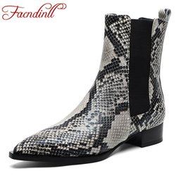 Discount sexy woman snake print - FACNDINLL women boots snake print ankle boots sexy med heels pointed toe ladies shoes woman 2019 new riding black