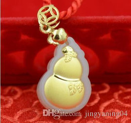 $enCountryForm.capitalKeyWord Australia - Gourd for a long and happy life Boutique pendant Hetian white jade 24K thick gold pendant necklace gold size 2.1cm*1.5cm*0.6cm couple lover