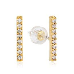 $enCountryForm.capitalKeyWord NZ - hip hop full diamonds ear studs for men Vertical bar rhinestones gold Luxury stud earrings real gold plated copper diamond jewelry