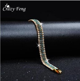 Wedding Charms For Bride Australia - Fashion Branded Designer Charming Bride Wedding Crystal Bracelet Women Jewelry Shiny Rhinestone Chain Bracelet for Female 2019 New