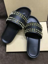 $enCountryForm.capitalKeyWord NZ - Designer Slippers Mens Black Genuine Leather With Gold Spikes Summer Flip Flops, Luxury Thick Sole Sandals Comfortable Beach Slides