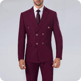 New latest desigN coat paNt online shopping - Latest Designs Burgundy Men Suits Man Blazer Jacket Piece Double Breasted Big Peaked Lapel Coat Pant New Fashion Costume Homme Prom Wear