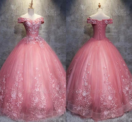 8ae7787e59 2019 Princess Pink Ball Gown Prom Quinceanera Dresses Sweet 15 Formal Party  Gown Plus Size Pageant Dress Custom Made BC1718
