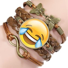 funny charms wholesale NZ - Hot sell New Unisex Vintage Handmade Brown Leather Cord Bracelet Infinity Butterfly Funny Emoji Time Gem Children Teenager Women Men Jewelry