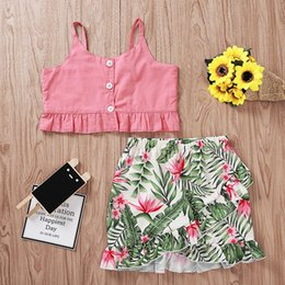 $enCountryForm.capitalKeyWord Australia - Girl Summer Clothing Set Sling Single Breast Tops Printed Mini Irregular Skirt Two-Piece Set Kids Designer Clothes Girls Baby Clothes 2-7T