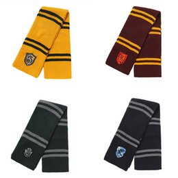 harry potter badges 2019 - Harry Potter Scarves Girls Gryffindor Slytherin Shawl Striped Badge Wraps Embroidery College Pashmina Winter Neckerchief
