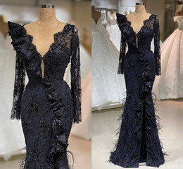 Discount long size t shirt Dark Navy Mermaid Evening Dresses With Feathers Luxury Appliqued Long Sleeves Prom Gown Plus Size Arabic Crystal Beaded