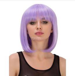 $enCountryForm.capitalKeyWord NZ - Carnival Women Wig Purple Short Straight Heavy Bang Synthetic Holiday Wig
