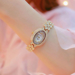 secret clock Australia - Fully-jewelled WristWatch Diamond Wrist Watch Small Clock Dial Ellipse WristWatch Scale Stainless Steel Bring Quartz Wrist Watch
