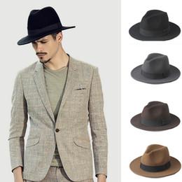 7849eab752eb1 Fashion 100% Wool Wide Brim Winter Autumn Men Felt Trilby Fedora Hat For  Gentleman Top Cloche Panama Sombrero Cap