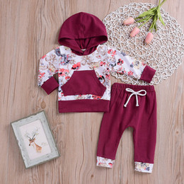 Cute outfits for spring online shopping - Fashion Baby clothes Boy Girl Clothing Set Floral Tops Hoodie Pants Outfits Set Clothes Winter clothes for children