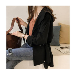 d927a8dcec6db7 2019 Fashion Hooded Trench Coat Women New Solid Long Sleeve Casual  Windbreaker Lace-up Cardigan Plus Size Coats