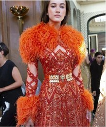 $enCountryForm.capitalKeyWord Australia - Evening dress Yousef aljasmi Labourjoisie Zuhair murad A-Line Jewel Long Sleeve Orange Tulle Feather Sash Crystal z Long Dress James_paul