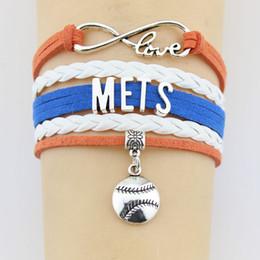 $enCountryForm.capitalKeyWord Australia - Fashion Handmade Jewelry Antique Silve Bracelet Infinity Love Mets Baseball Bangle Wrist Band Male Female Best Gift Jewelry