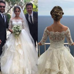 $enCountryForm.capitalKeyWord Australia - 2019 New Elegant 1 2 Sleeve Appliques Bateau Vintage White Ivory Sexy Tulle wedding dresses Zipper Bride Wedding Gown