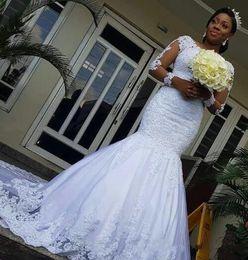 Castle models online shopping - Vintage Arabic Lace Mermaid Wedding Dresses Sheer Long Sleeves Lace Appliqued Country Bridal Gowns Custom Made Vestido de Novia