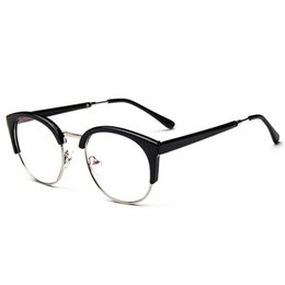 Chinese  new Fashion Cat Eye Half Frame Metal Anti-Radiation Goggles Plain Glass Spectacles 10 colors manufacturers