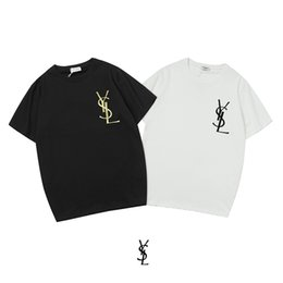 Men hot fashion t shirt online shopping - Saint and Laurent years latest hot style terry fabric T shirt fashion design short sleeve men and women of the same size S M L XL XXL