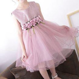 Girls white Gauze dress online shopping - Baby Girl Dresses Ruffle Gauze Floral Sash Sleeveless O Neck Princess Dress Kids Designer Clothes Girls Kids Dresses