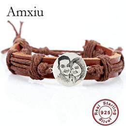 Food channel online shopping - Amxiu Custom Photo Bracelet Sterling Silver Jewelry Women Men Accessories Adjustable Leather Bracelets For Lovers Bijoux Y19051302