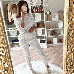 Wholesale cable knitted sweaters resale online - Womens Ladies Solid Off Shoulder Cable Knitted Warm PC Loungewear Suit Set autumn sweater women sweater woman winter plaid