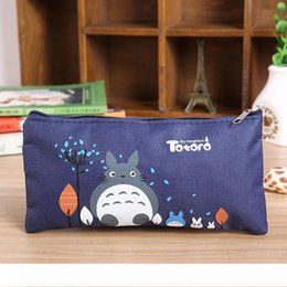 totoro cosmetic bag NZ - B Student Cartoon Canvas pencil bags Miyazaki Totoro Zipper pencil cases Cosmetic Small Makeup Tool Bag kids coin bag 19*9.5CM