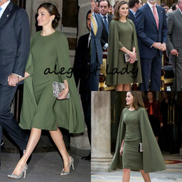 Formal queen dress online shopping - Queen Letizia Short Prom Formal Dresses With Cape Olive Army Green vestido de madrinha farsali Meghan Markle Short Evening Gown